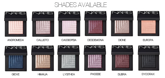 NARS Dual Intensity Eyeshadow Shade Chart1