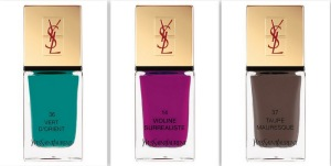 Yves Saint Laurent Summer 2013 Makeup Collection La Laque Couture Nail Lacquer Swatches 14 Violine Surrealiste 36 Vert DOrient 37 Taupe Mauresque Indian Beauty Blog Darker Skin