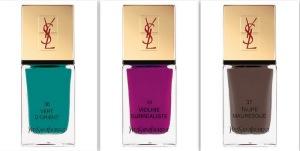 Yves Saint Laurent Summer 2013 Makeup Collection La Laque Couture Nail Lacquer Swatches 14 Violine Surrealiste 36 Vert DOrient 37 Taupe Mauresque Indian Beauty Blog Darker Skin